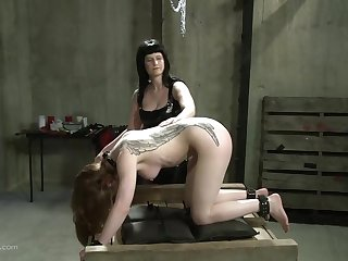 Tattooed blonde slave girl reaches intense orgasm when tied up