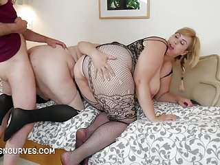 Slave boy has to fuck their plump asses