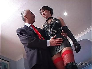 Short haired brunette latex whore Roxanne rides and sucks dick