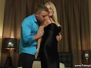 Blonde Alexa takes off her black dress and gets missionary fucked