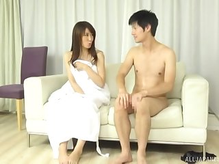 Shy tall Japanese brunette MILF rides cock at a hotel room