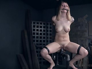Pussy and asshole electricity abuse for tied up Jacey Jinx