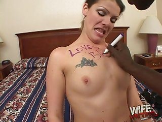 Slutty brunette MILF LT swallows a huge black dick and its cum