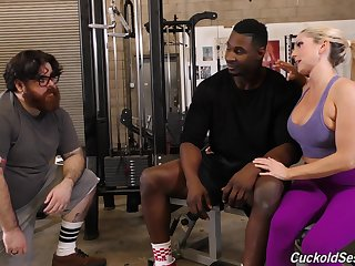 Cuckold liks a black mans cum off of Christie Stevens boobs