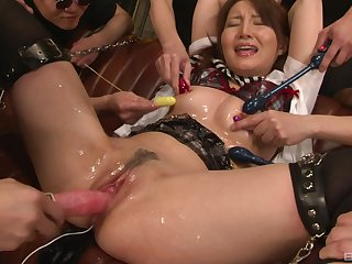 Slimy and messy abusive gangbang with loads of cum for a Japanese babe
