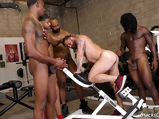 Gay gang bang for a white dude with black guys and cum on his face