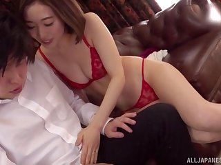 Japanese short haired babe Honda Misaki sucks cock in underwear