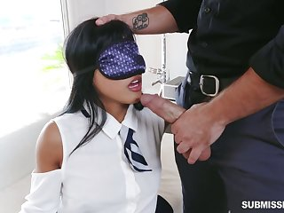 Blindfolded frolicsome hottie Ember Snow is eager to shrink from fucked vicar