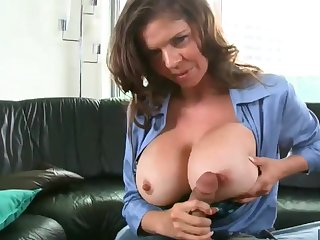 Beamy breasted officer sucking and fucking fixed cock in POV