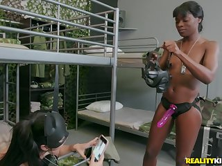 extraordinary pansy Ana Foxx use a strapon to amuse her girlfriend