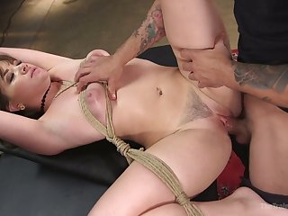 Depraved gaffer MILF Alison Rey is tied up and fucked preacher hard