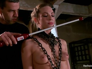 A uninspiring be seated girl made to be crazy and suck a BBC in a torture room