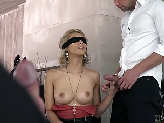 Blind bent over kirmess Veronica Leal gives a blowjob before a hardcore DP sex